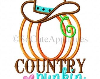 SAMPLE SALE - Country Punkin Shirt - Country Pumpkin Shirt - Pumpkin Patch Shirt - Cowgirl Pumpkin - Cowgirl Hat - Fall Shirt