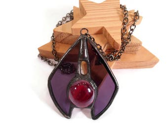 Purple Necklace Stained Glass Pendant Purple Jewelry Pendant Handmade Necklace Glass and Metal Necklace Purple Red Necklace Unique Jewellry