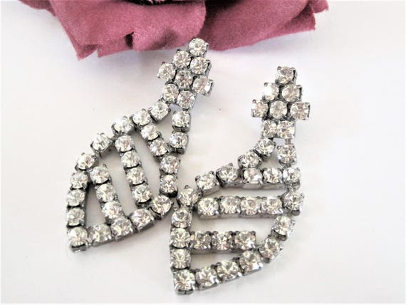 Rhinestone Earrings - Dangle Pierced - Clear Stones Long Dangles - Modernist Pierced