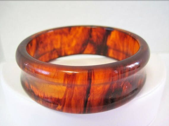Bakelite Bangle -   Root Beer  Bangle Bracelet - Wide Bangle