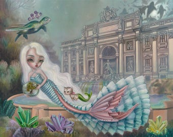 The Fountain Of Wishes LIMITED EDITION print signed Simona Candini Mermaid Mercat Merkitty fantasy big eyes seascape whimsical Rome
