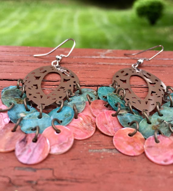 """Blue & Pink """"Simply Chandelier"""" Mussel Shell Earrings"""