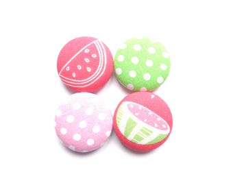 Watermelon Magnets, Polka Dot Magnets, Pink Magnets, Green Magnets, Red Magnets, Fridge Magnets, Refrigerator Magnets, Fabric Magnets