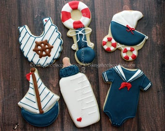 Sailor Baby Shower Decorated Cookies, Nautical Baby Shower Cookies, Sailboat Cookies, It's A Boy, Baby Bib Cookies, Baby Rattle Cookies