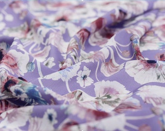 """Crepe de Chine silk fabric, beautiful romantic soft violet floral  45""""  14m/m,   apparel fabric for dresses, blouses, tops, by the yard"""