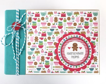 Christmas Recipe Album Kit or Premade Mini Album Pre Cut with Instructions 4x6 Cookies Recipes Treats Cakes Holiday DIY