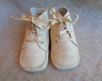 Vintage Leather Baby Shoes Sweet and Shabby 1950s
