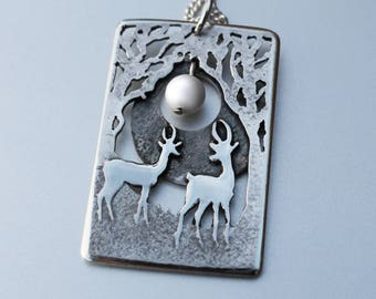 Silver Tree Pendant, 'Gazelle Moon', silver jewelry