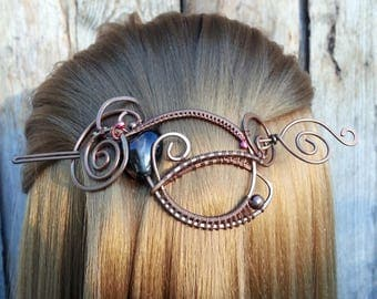 Dark Shawl Pin Scarf  Pin Copper Hair Slide or Pin Wire Wrapped Jewelry Hammered Copper Brooch / Wire Wrap Hair Accessories Bun pin barrette