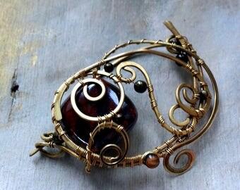 Brass Shawl Pin Scarf or Sweater Pin Fibula Metalwork  Filigree Brass Brooch  Wire Wrapped Jewelry Hammered Brass Brooch  Wire Wrap Fibula