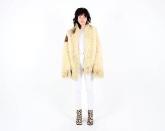 70s Genuine Sheepskin / Curly Shearling Shaggy Lambswool Fur Pelt Slouch Rolling Stones Groupie Hippie Afghan Coat
