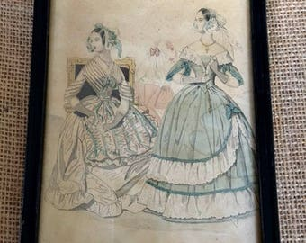 """Vintage Fashion Plate Framed Print from """"Lady's Book Fashions"""" from 1840"""