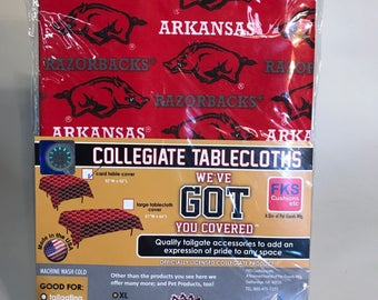 "University of Arkansas Table Cloth-52""X 52""-Arkansas Razorbacks Card Table Cover-Brand New-NCAA Table Cloths-for over 30 Schools"