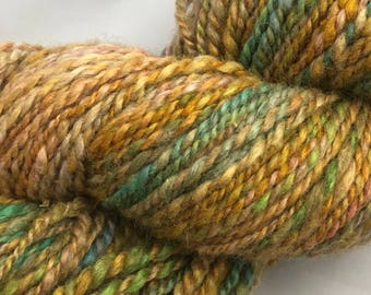 Handspun, multicolored, 5 ounce, 185 yard skein of hand-dyed Teeswater and silk.