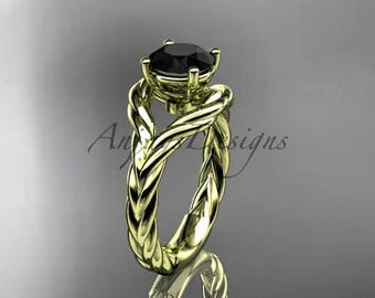 14k yellow gold Black Diamond twisted rope engagement ring RP8125