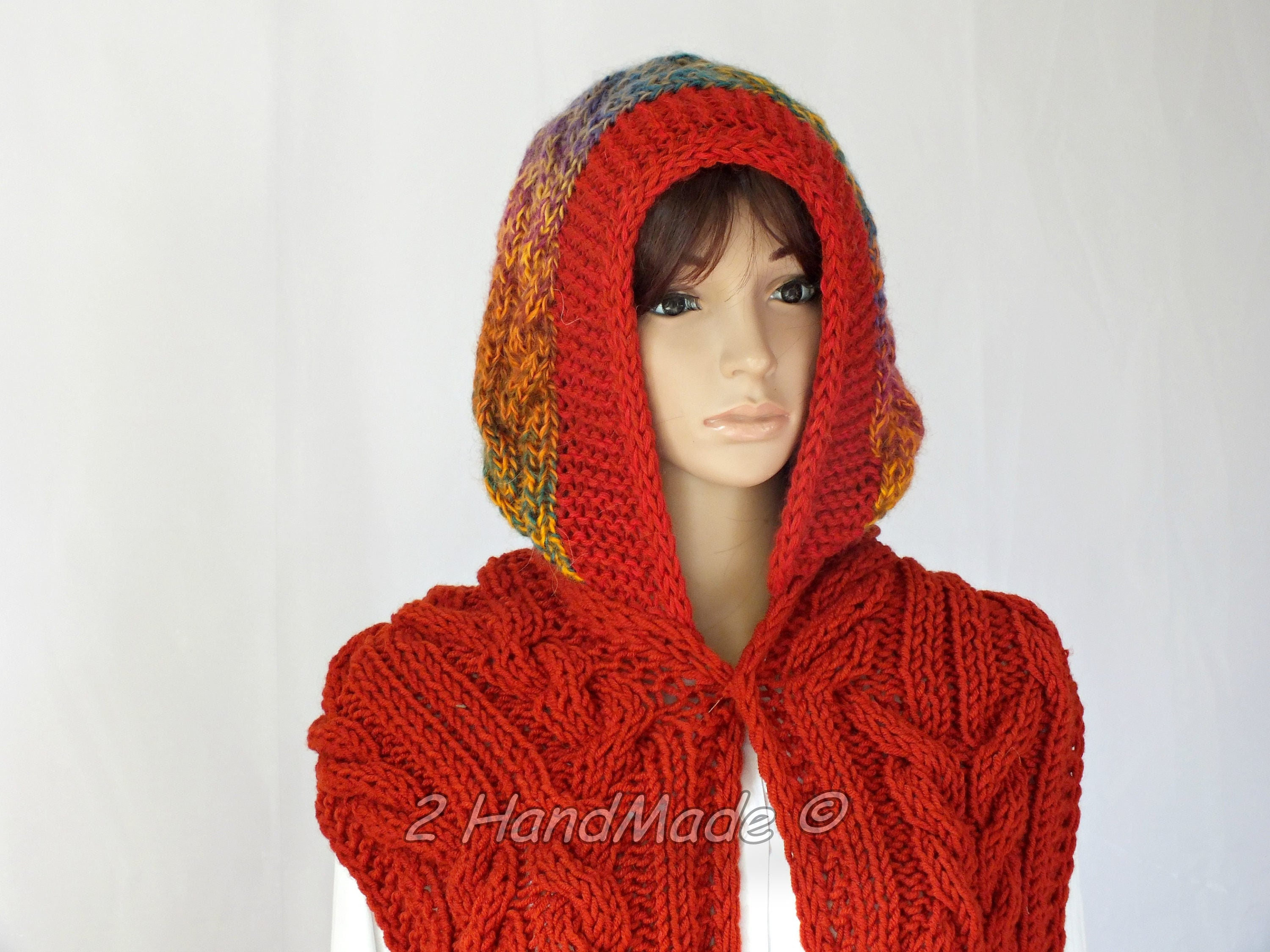 Fox Orange Cable Hand Knit Hooded Scarf Sheep Angora Wool Multicolor ...