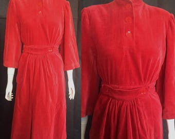 1940s red cord winter dress