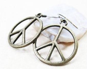 40% OFF Dangle Drop Earrings - Antiqued Brass Metal Peace Charms - Antiqued Brass Ear Hooks (H-33)