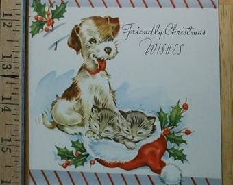 Vintage Christmas Card with Dog and Kitten