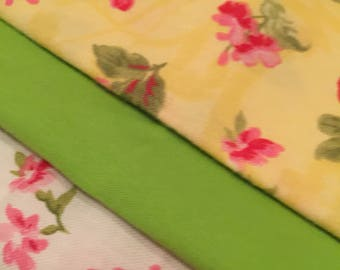 Green and Yellow Floral Embroidery Quilting Fabric Set