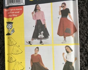 Simplicity Girls Teens Poodle Skirt Halloween Sewing Pattern 9926 UNCUT  FF Size A