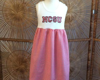 NCSU HOUNDSTOOTH  dress with long sleeves, short sleeves or tank.. Perfect for NC State..  late football and basketball!