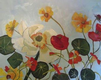 Nasturtium And Peony Original Oil Painting