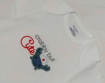 ON SALE NOW Cabby but Cute baby body suit with cute gray/blue crab and embroidered details- Pre-made, Ready to ship
