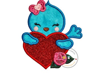 Sweet blue bird iron on patch, Valentine's day embroidery patch, Glitter heart iron on applique, Personalized embroidered iron on patch