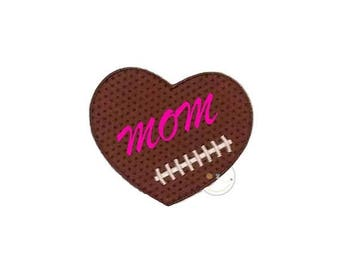 ON SALE NOW Football  heart iron on applique, Fall sports no sew patch , Machine embroidered football fabric applique