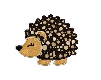ON SALE NOW Woodland hedgehog fabric iron on applique- hunting no sew embroidered patch- ready to ship