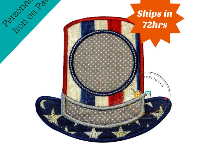 Monogrammed patriotic top hat iron-on appplique in red, white, and blue fabric, white stars on blue fabric brim, gray dots band and circle