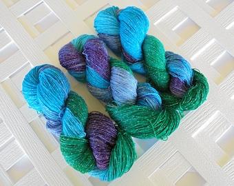 Hand-Dyed Yarn, OCEAN FANTASY, Variegated Merino Yarn, Sparkly Indie Yarn, Sock Yarn, Fingering Yarn, Indie-Dyed Yarn, Soft Variegated Yarn
