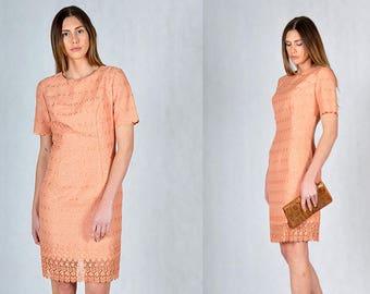 Embroidered Peach Vintage Midi Evening Dress