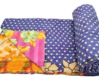 Vintage Kantha Quilt Gudri Reversible Throw Ralli Bedspread Bedding India OG1048