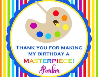 Painting Party Favor Tag ( Digital File - You Print ) / Art Favors / Painting Birthday Favors / Paint Party Favors / Art Birthday Favor