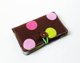 CLEARANCE Brown Splendid Polka Dots Fabric Business Card Holder, with Wavy Splendid Stripes - Credit Card Holder, Cloth Card Holder, Gift Ca