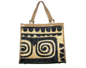 Vintage 60s 70s Navy Blue & Tan Tribal Printed Tote Bag