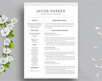 Resume Template 3 page | CV Template + Cover Letter for MS Word | Instant Digital Download