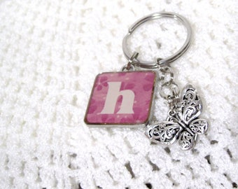H  Key Chain, Letter h, Pink Floral,Free Shipping, Butterfly Charm, Heart with Cross, Helen, Hester, Hudson, Alphabet letter H