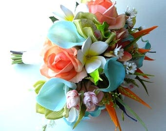 Rose and Tropical Flower Bridal Bouquet in Orangey-Coral, Aqua and Lime with Real Touch Flowers- Beach Wedding- Destination Wedding