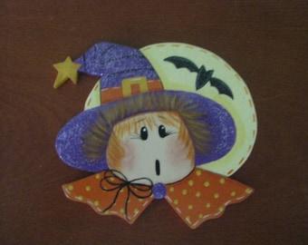 witch, halloween, bat, magnet, ornament, handpainted,