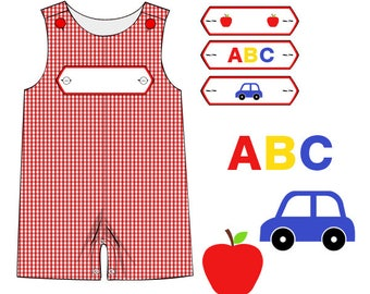 A is for Apple Red Gingham Shortall