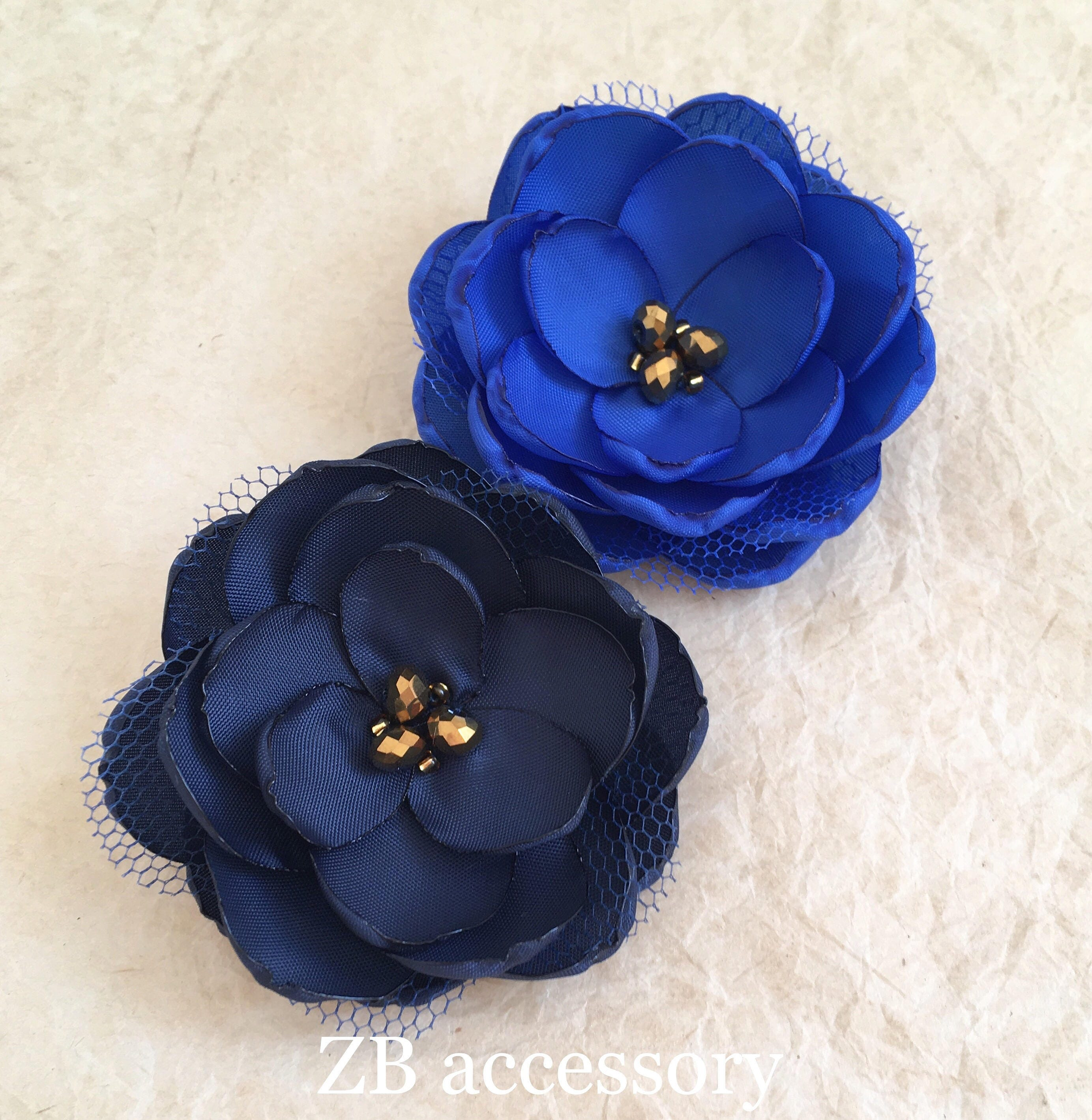Navy blue gold fabric flower hair clip handmade wedding accessory navy blue gold fabric flower hair clip handmade wedding accessory flower with crystals leaf izmirmasajfo Image collections