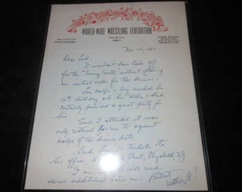 1964 WWWF Wrestling signed letter from President Willie Glizenberg - rare vintage autograph wwf wwe