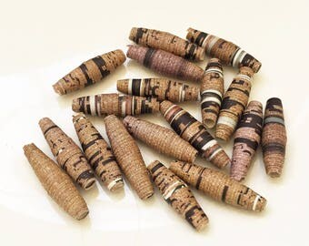 eco friendly earthy shades of light brown black and white hand made paper beads for creating ooak diy jewelry--lot of 18