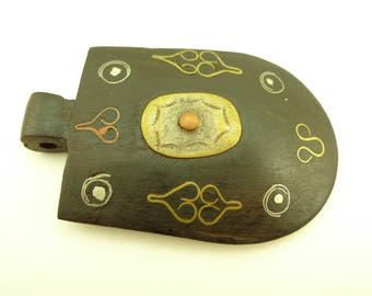 handmade inlaid ebony wood metal pendant trade bead Africa tribal unique AB-0139
