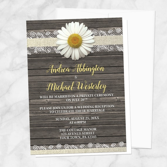 daisy reception only invitations burlap and lace yellow white