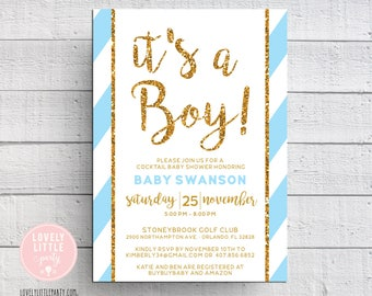 Baby Shower Invitation, It's a boy invitation, striped baby shower- Lovely Little Party