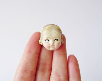 Antique Doll Face Brooch Edith - Handmade Paperclay Doll Pin